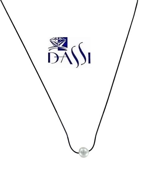 Girocollo in caucciù elastico con perla passante misura 9 e sferetta in oro bianco