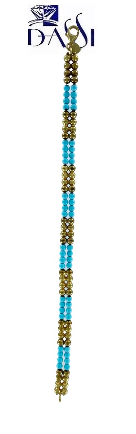 Bracciale in oro giallo con perline in oro giallo, turchese o perle