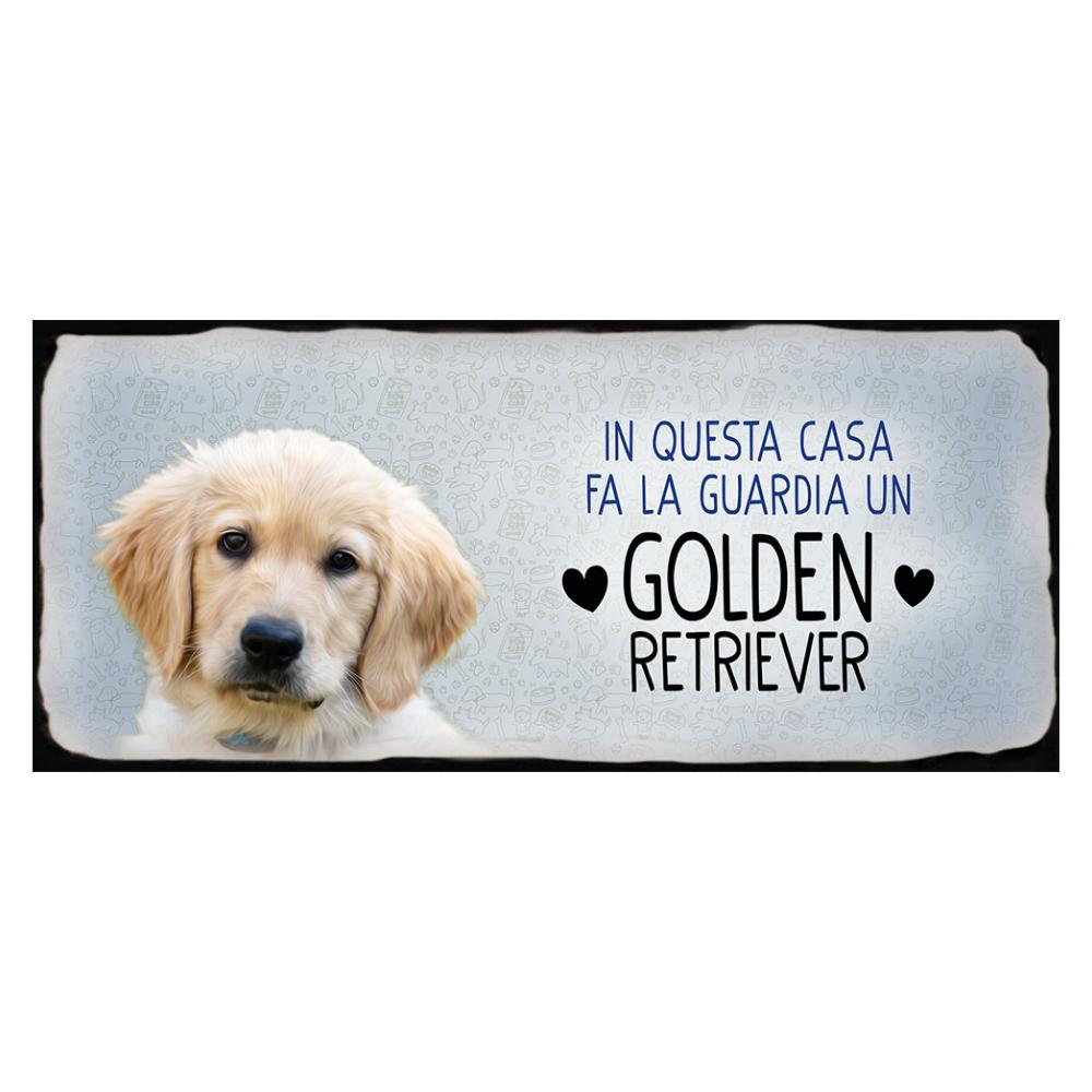 Placca in metallo cane Golden Retriever