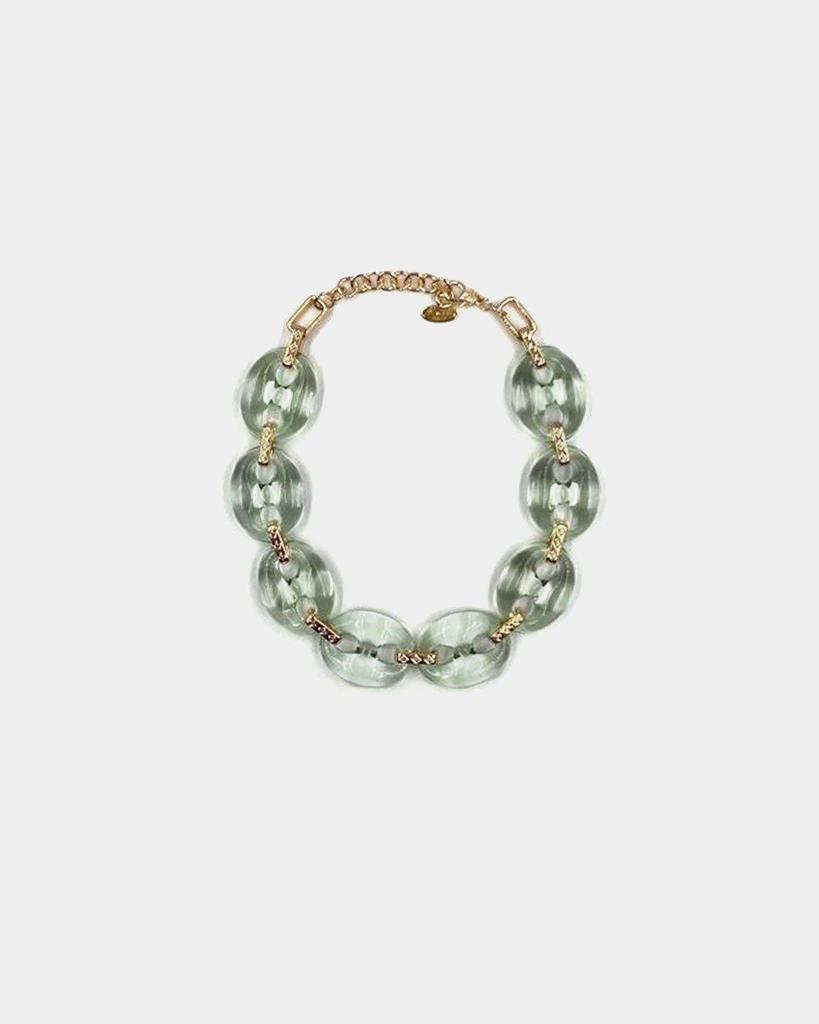 Collana girocollo anelli trasparenti verde Rush