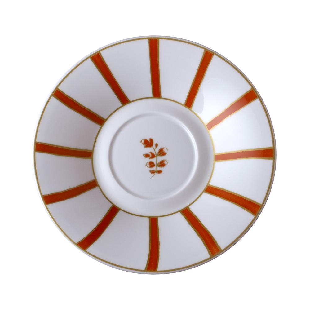 Piattino per tazza thè e cappuccino cm 16   Striche Arancio e Oro