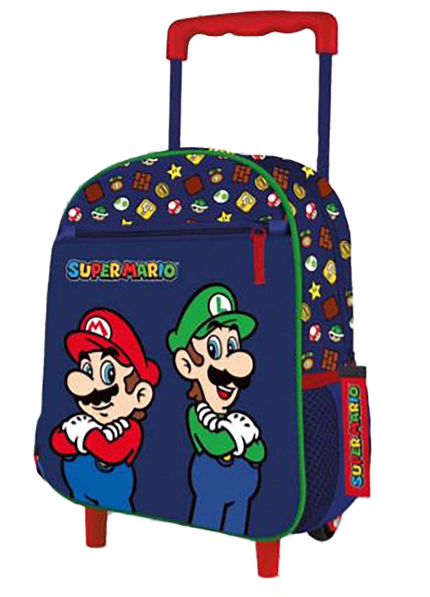 Trolley asilo Super Mario dimensione 28x24x12 cm colore blu 2021 2022