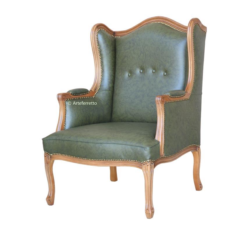 Armchair Bergère genuine leather