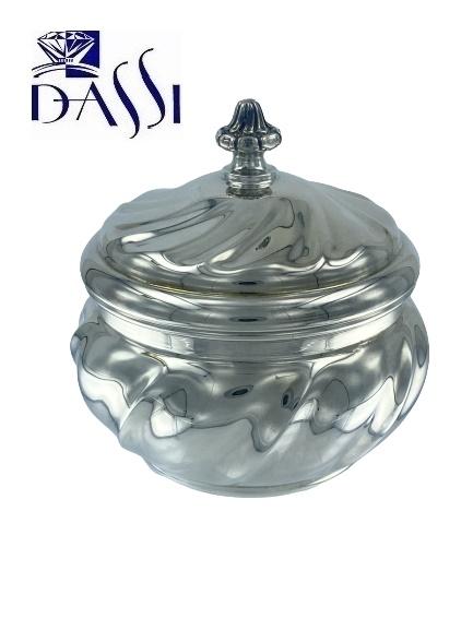 Zuccheriera in argento 800 torchon con coperchio