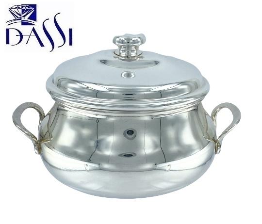 Zuccheriera in argento 800 ovale con coperchio e manici