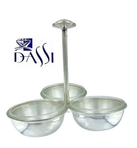 Porta salatini o olive in argento 925 con tre coppe in vetro smerigliato