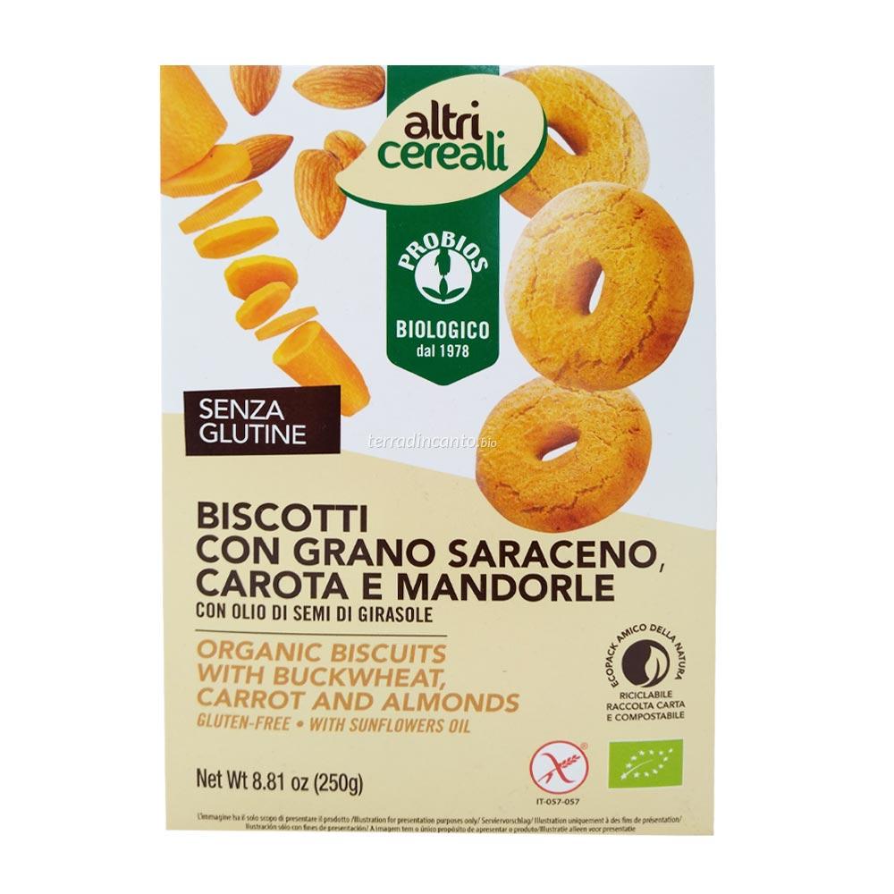 BISCOTTI AL GRANO SARACENO, CAROTA E MANDORLE - senza glutine  250g  ALTRI CEREALI