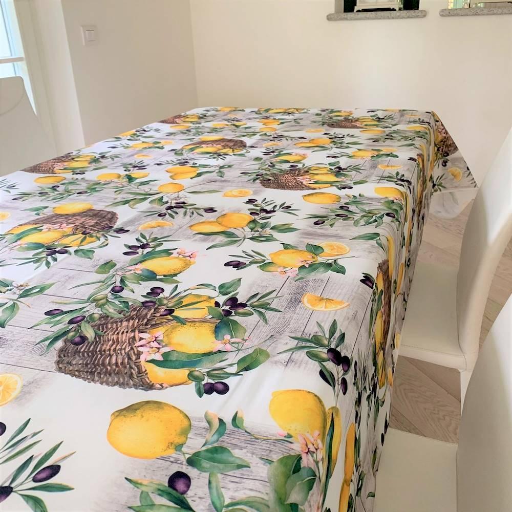 Tovaglia antimacchia Limoni nei cesti 150 x 150