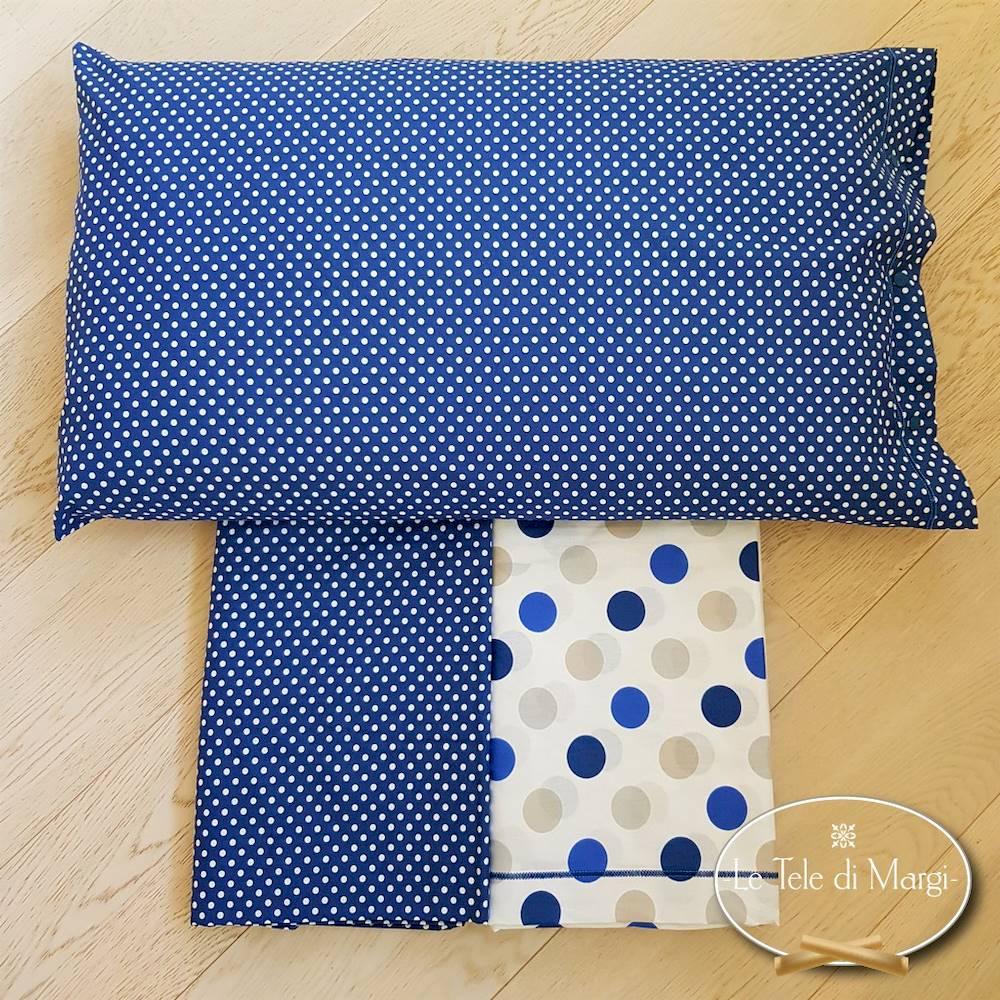 Completo Lenzuola Pois blu piazza e mezzo