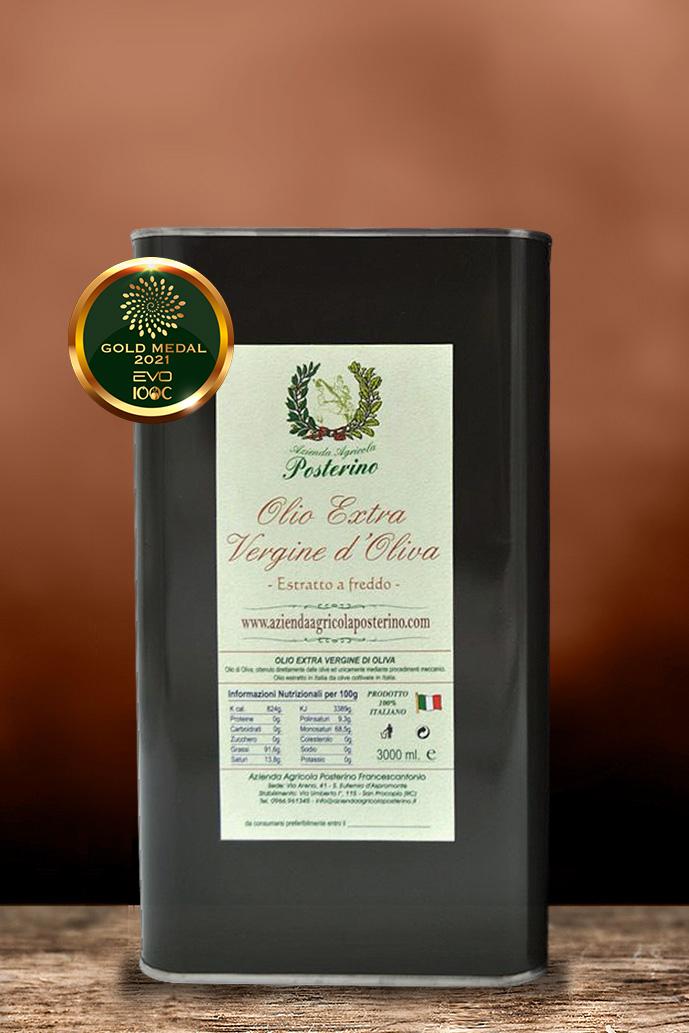Olio Extravergine d'oliva estratto a freddo 100% Italiano lt. 3