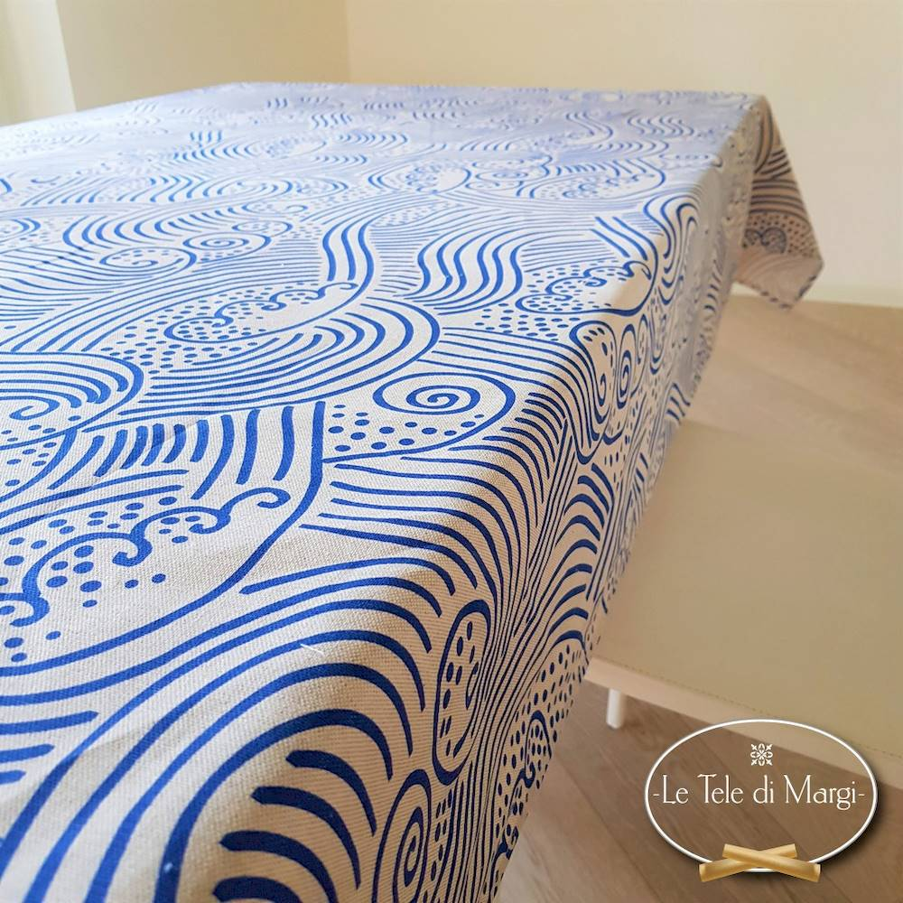 Tovaglia Onda Blu 140 x 300