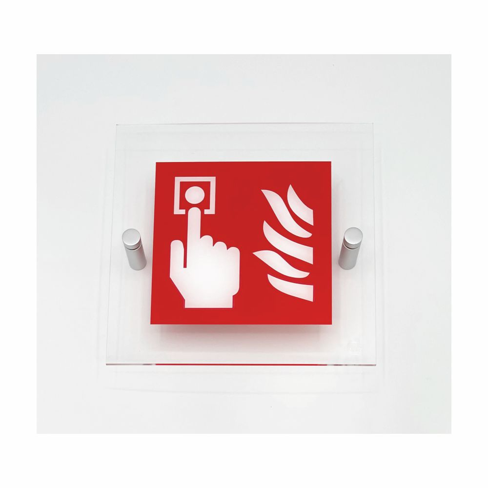 Cartello in plexiglass serie Plexline Economy Pulsante allarme antincendio