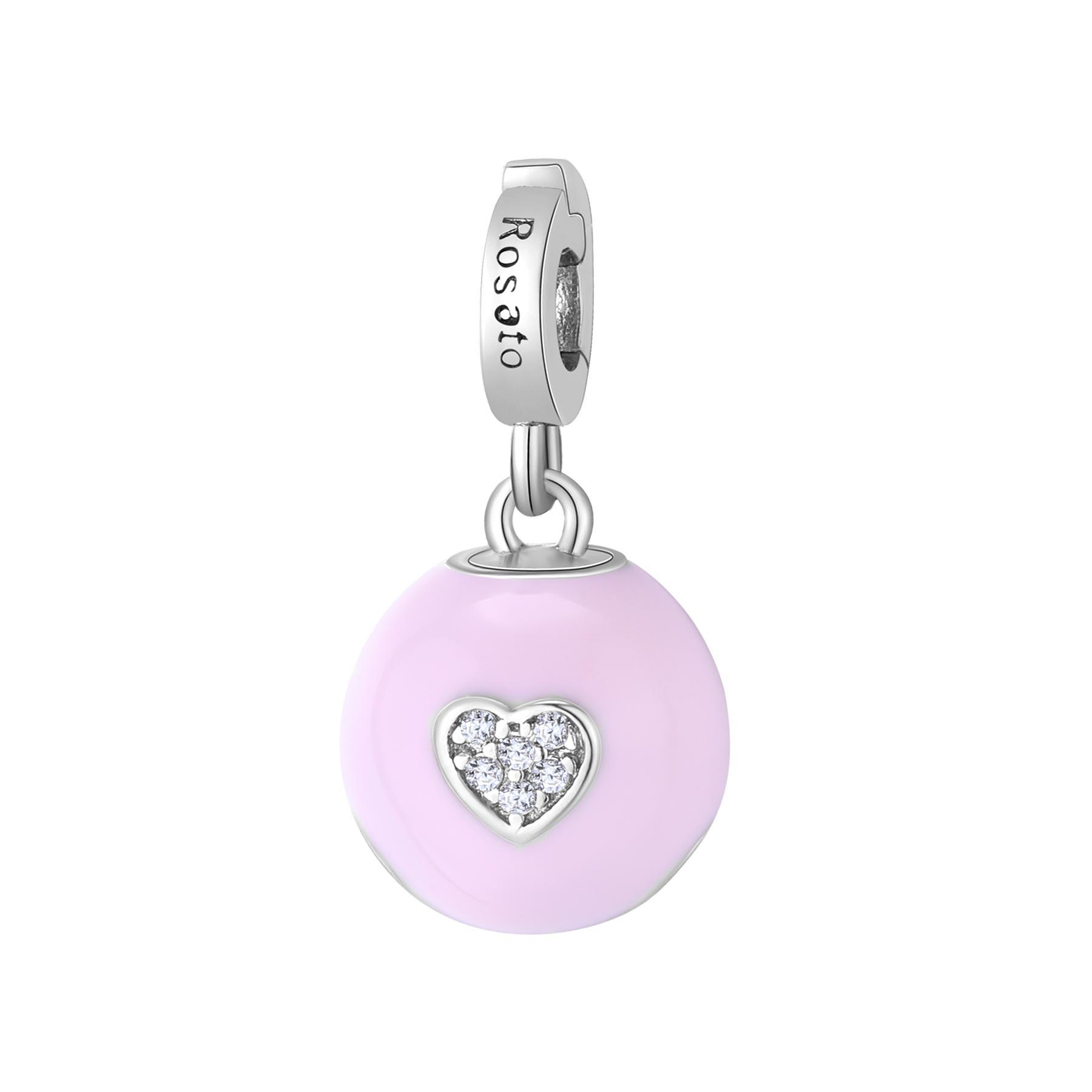 Charm Rosato in argento 925 con cuore e smalto rosa Nascita RZ184R
