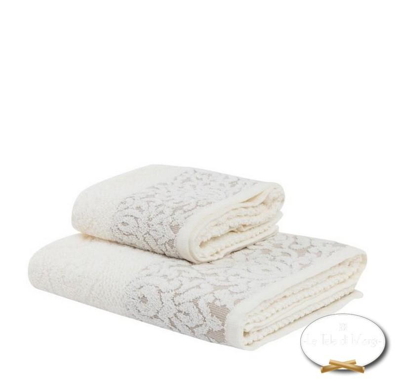 Coppia asciugamani Arabesque panna