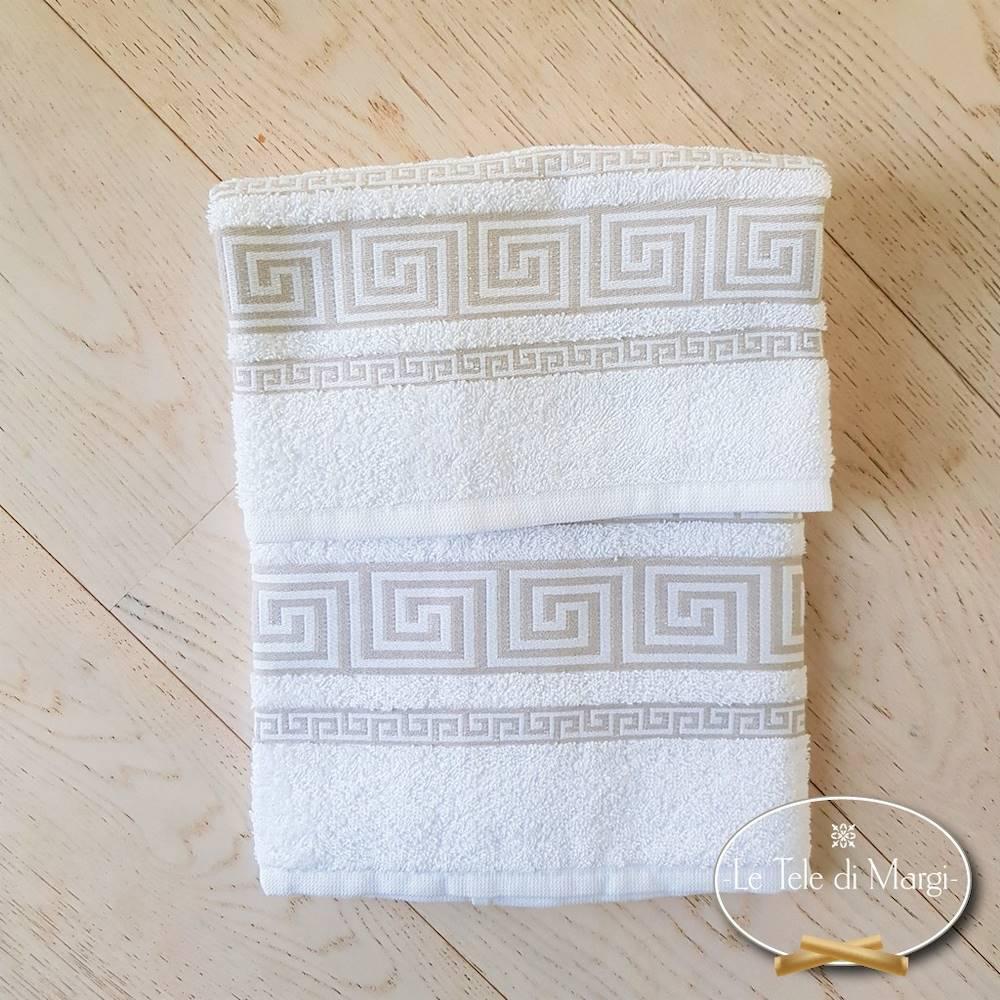 Coppia asciugamani Greca bianco