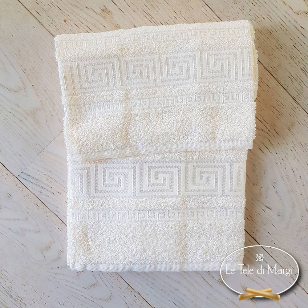 Coppia asciugamani Greca panna