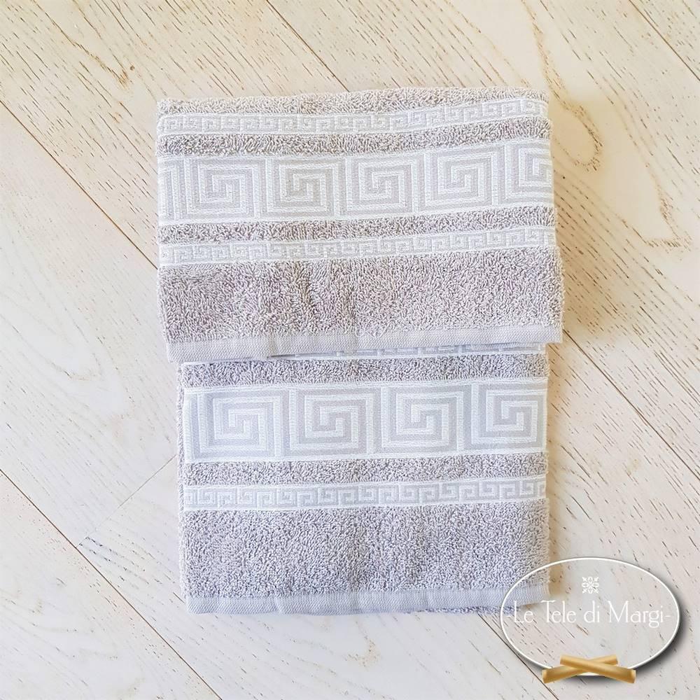 Coppia asciugamani Greca tortora