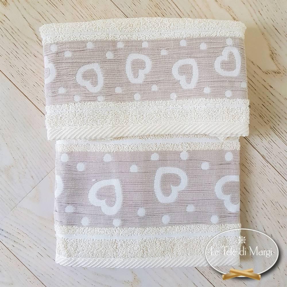 Coppie asciugamani Cuoricini e pois panna
