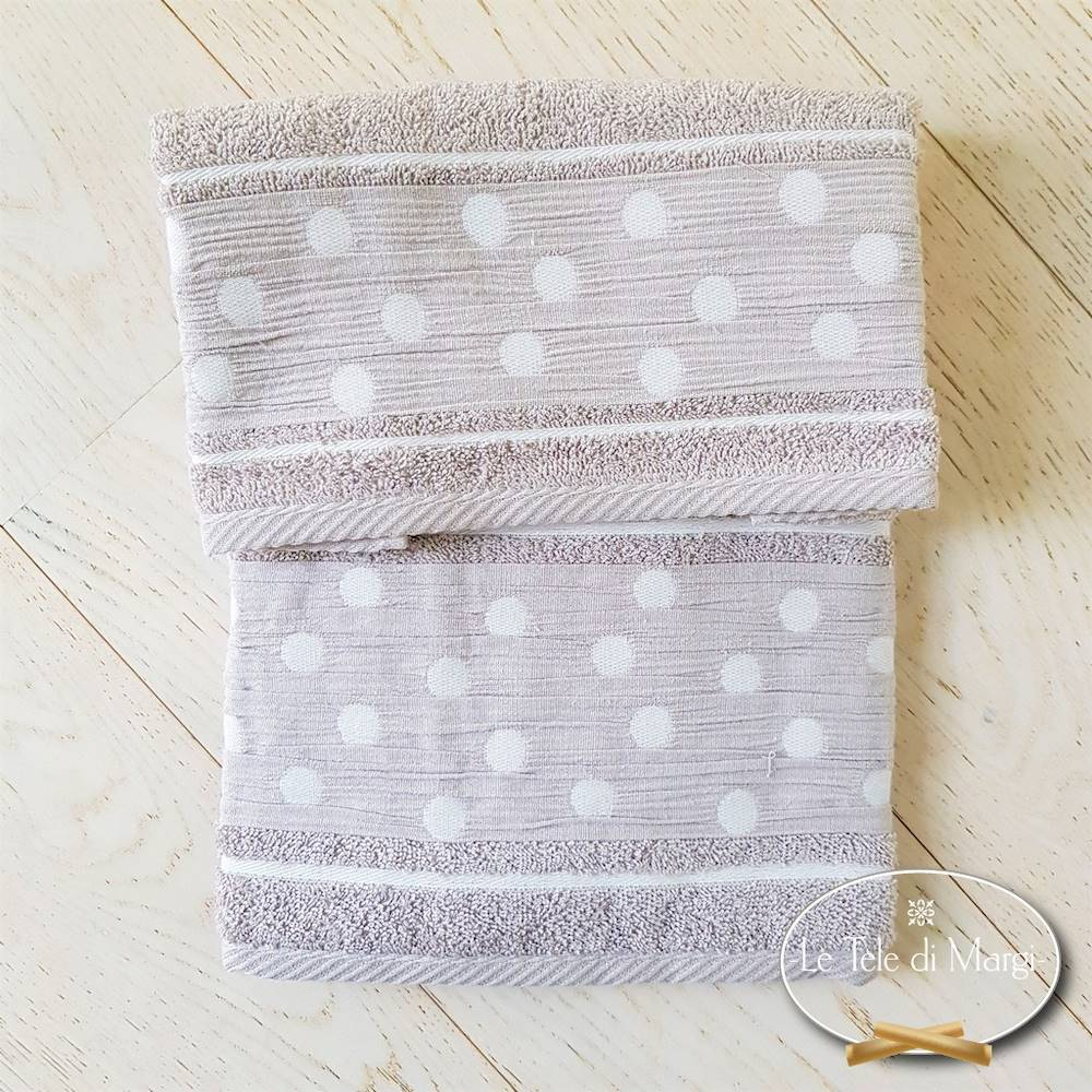 Coppia asciugamani Pois Tortora