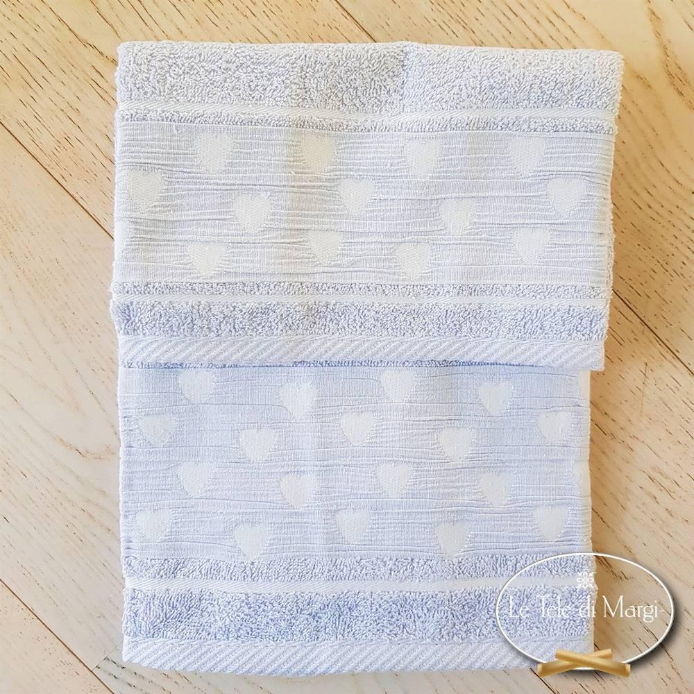 Coppia asciugamani Cuoricini Grigio polvere