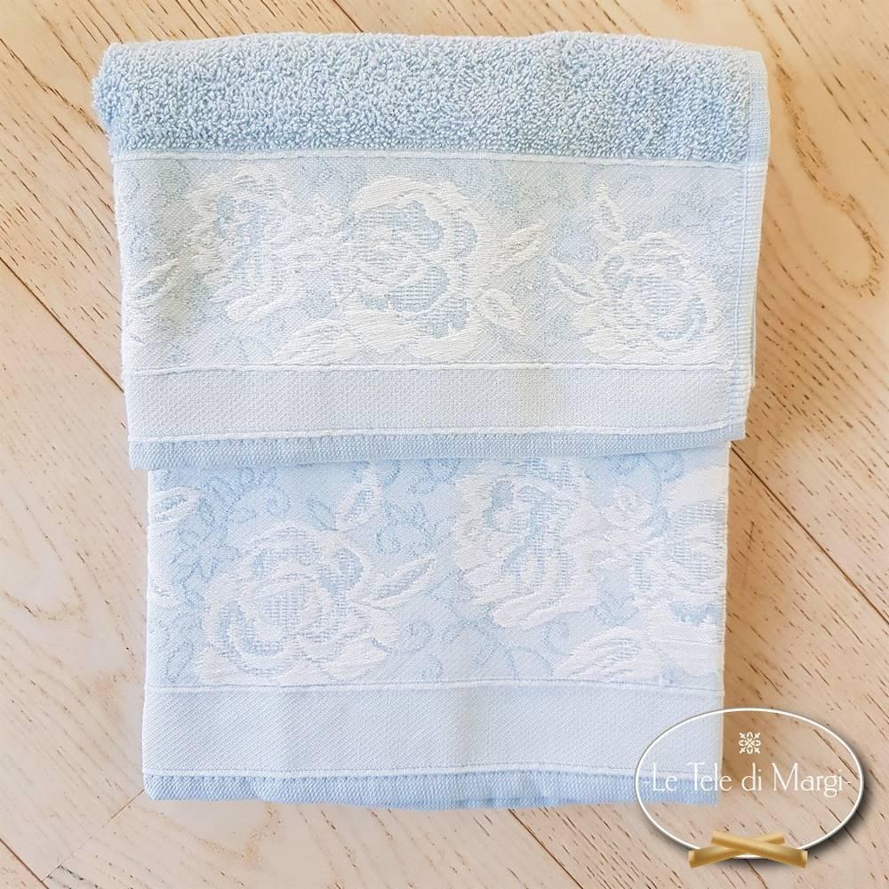 Coppia asciugamani jacquard Rose azzurro