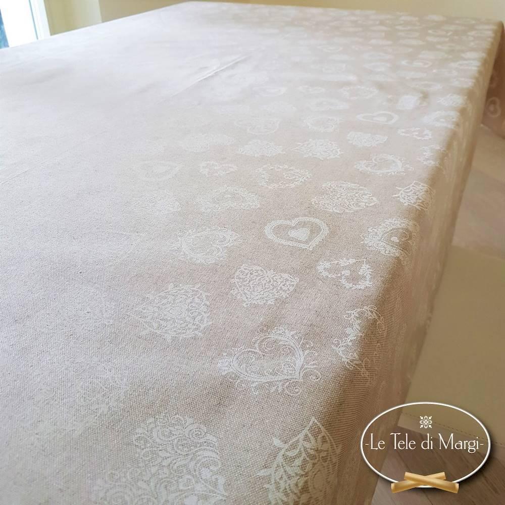 Tovaglia Cuori bianchi resinata 140 x 240