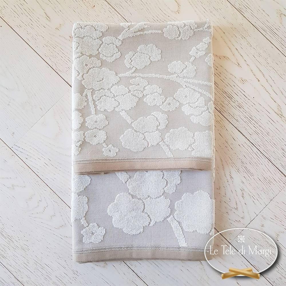 Coppia asciugamani cotone e lino fiori di pesco