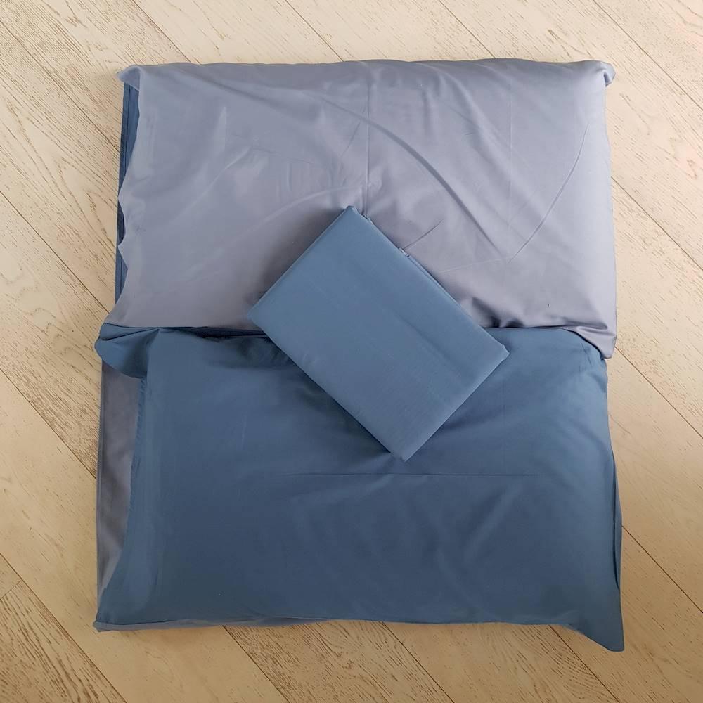 Sacco piumino percalle tinto in filo blu