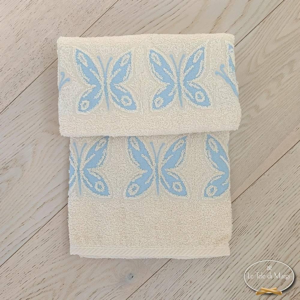 Coppia asciugamani farfalle azzurre