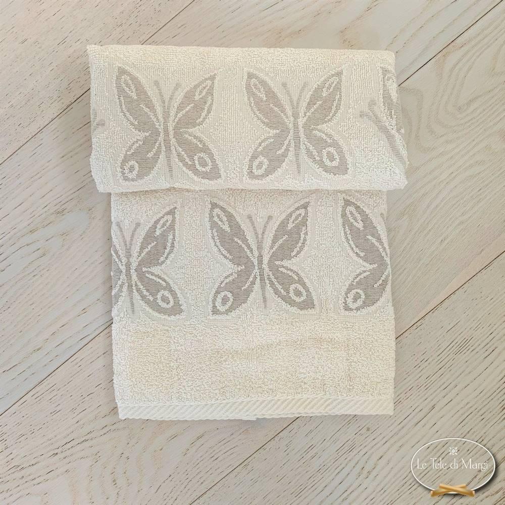 Coppia asciugamani farfalle lino