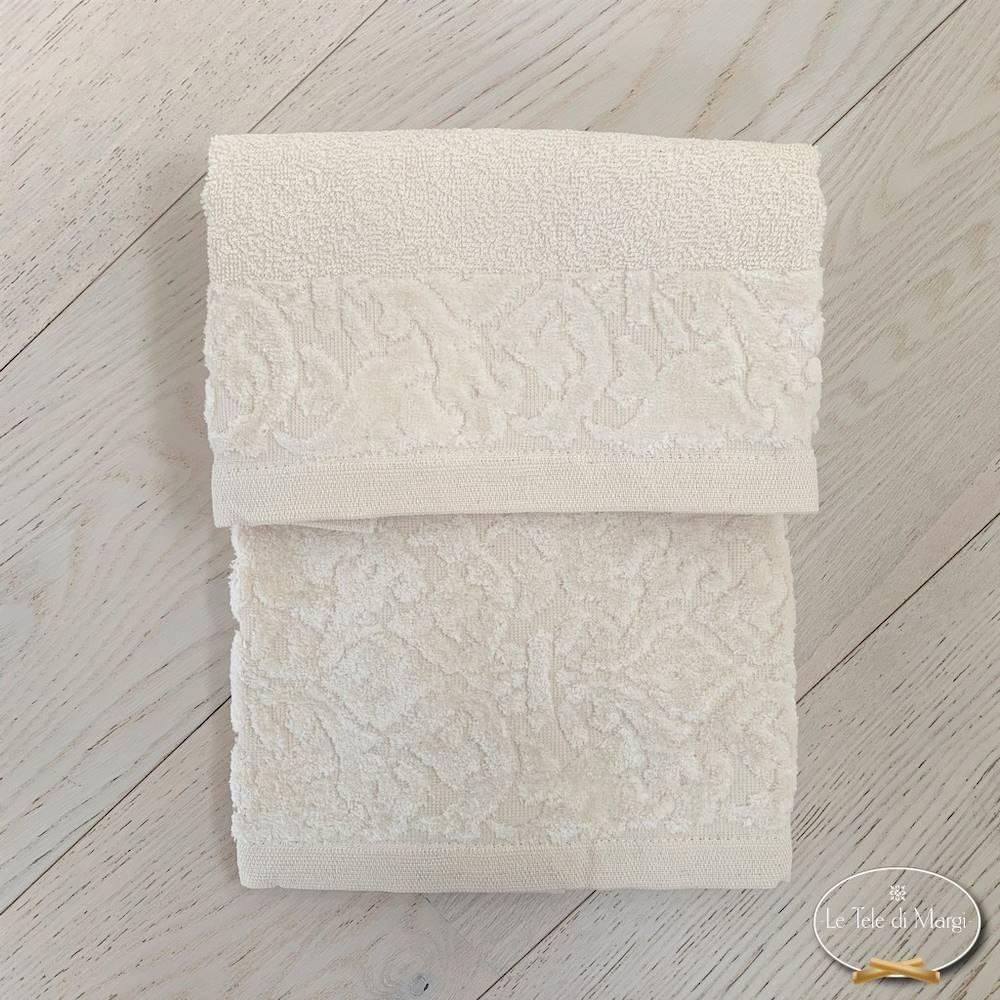 Coppia asciugamani balza in ciniglia panna