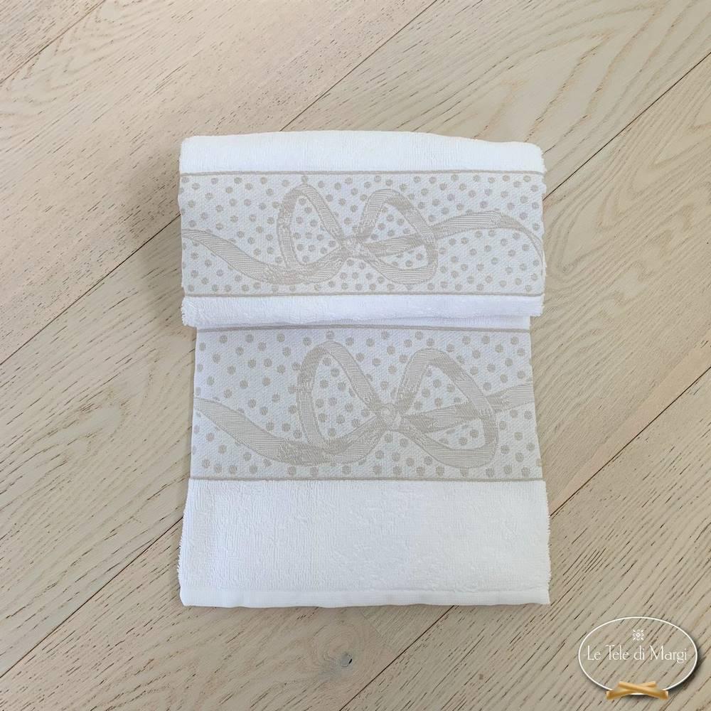 Coppia asciugamani fiocchi bianco
