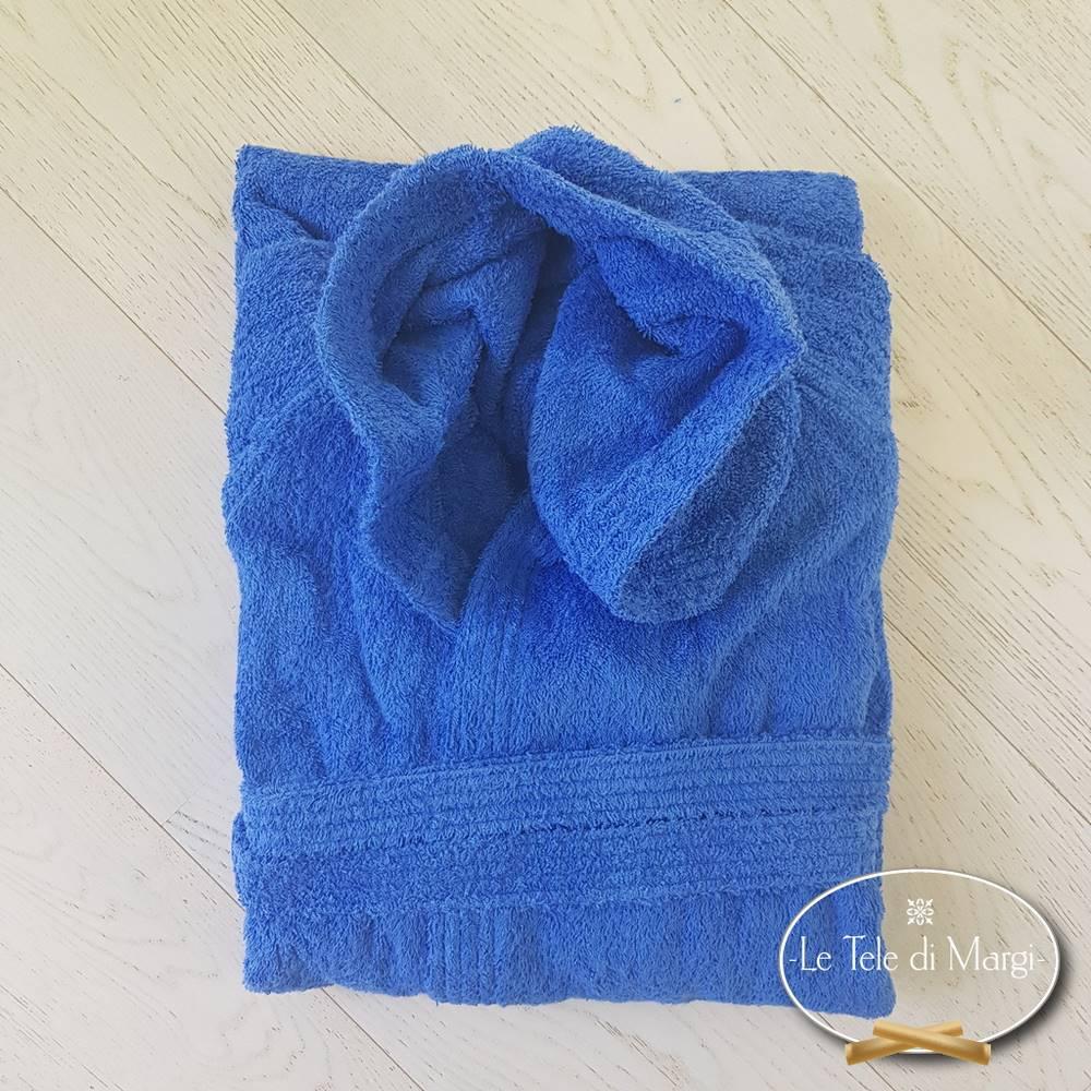 Accappatoio con cappuccio blu in cotone Cardato