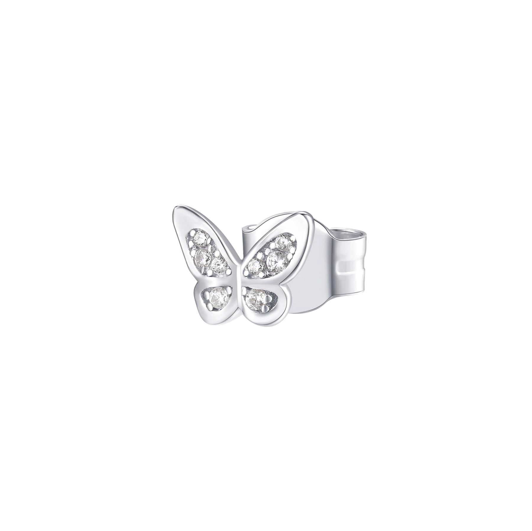 Orecchino mono a lobo Rosato in argento 925 Farfalla con zirconi RZO052R