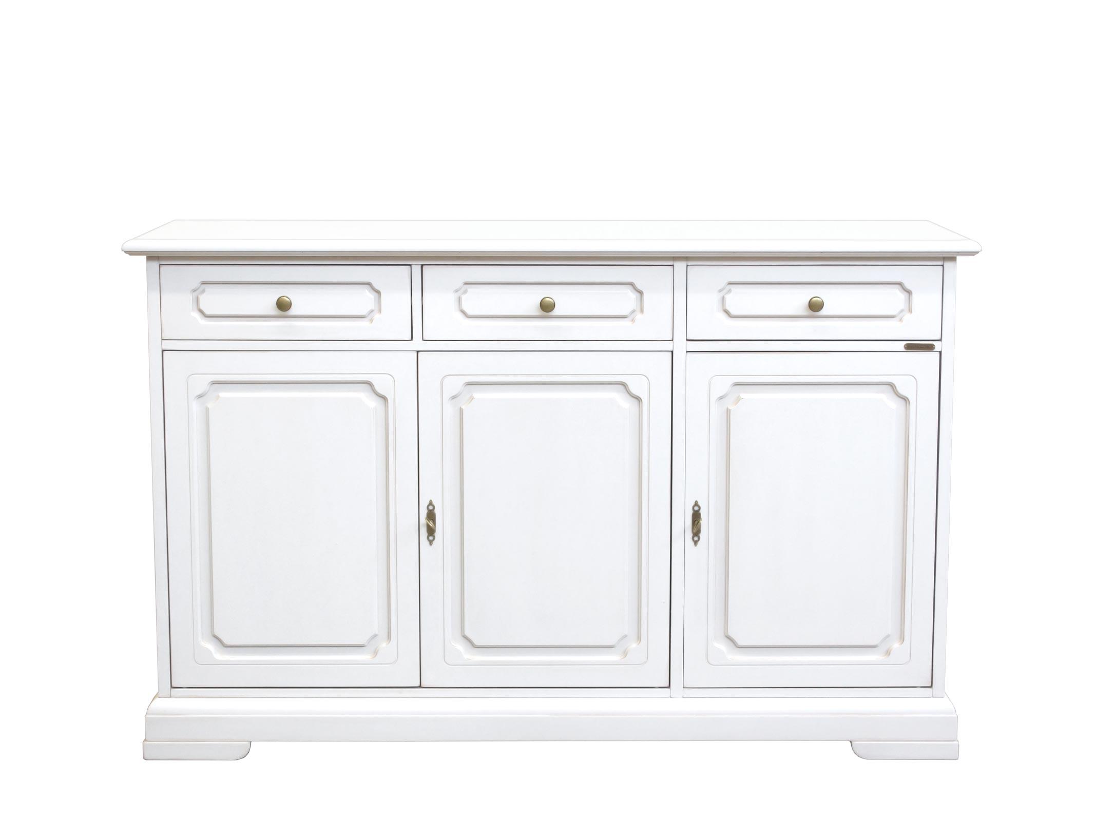 Aparador laqueado blanco 3 puertas para salón