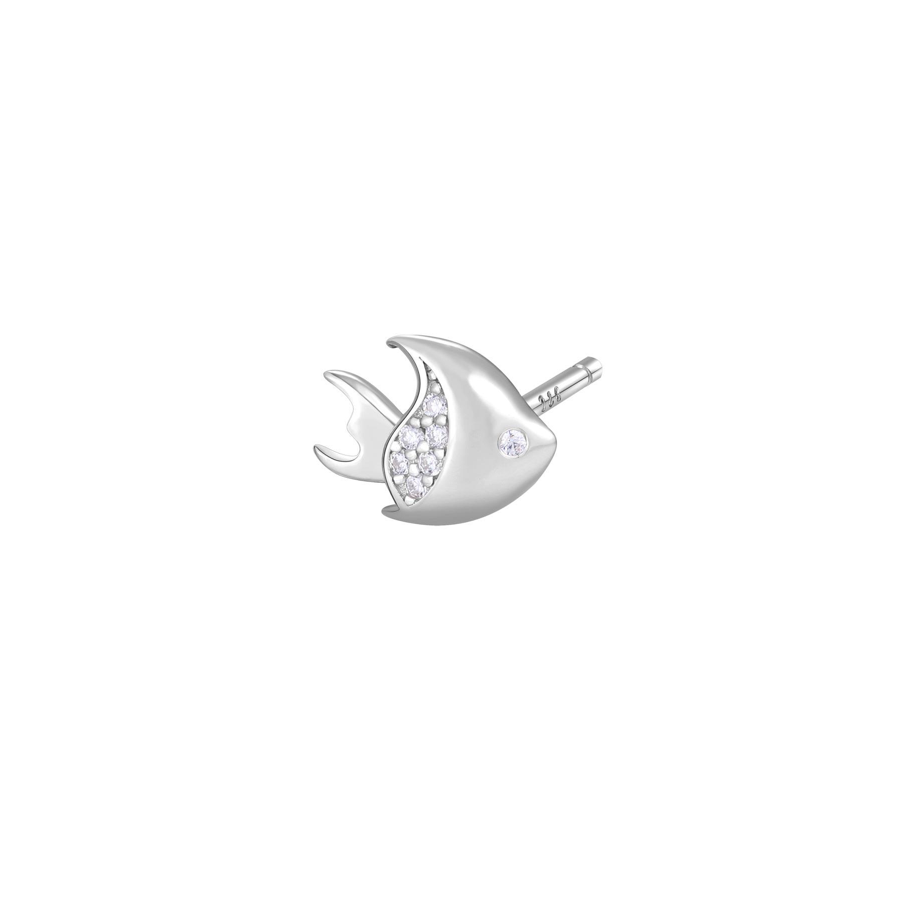 Orecchino mono a lobo Rosato in argento 925 Pesciolino con zirconi RZO054R
