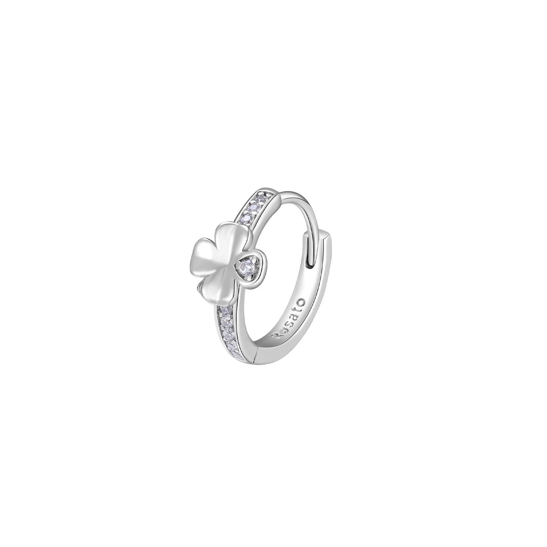 Orecchino mono cerchietto Rosato in argento 925 quadrifoglio con zirconi RZO059R