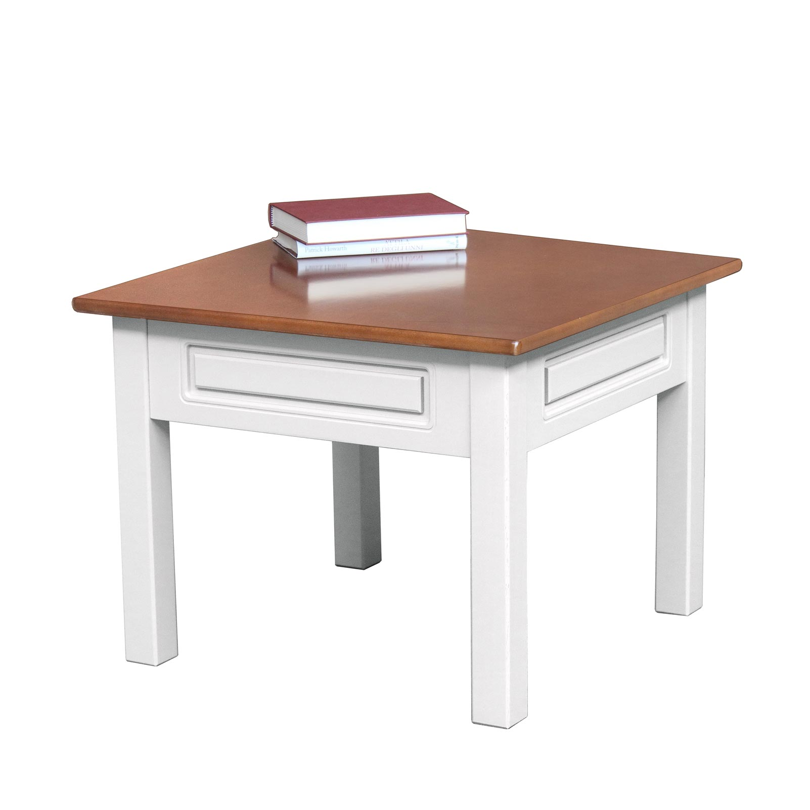 Table basse de salon carrée bicolore 61x61 cm
