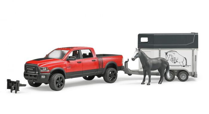 BRUDER - RAM 2500 Pick-Up + Rimorchio Porta Cavalli + Cavallo 02501
