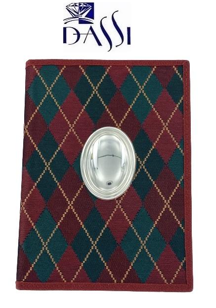 Agenda telefonica in tela scozzese con blasone in argento 925