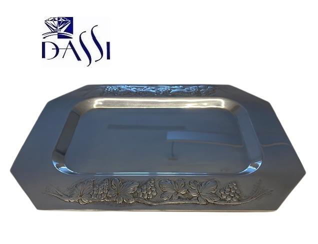 Vassoio esagonale in argento 800 con bordo largo