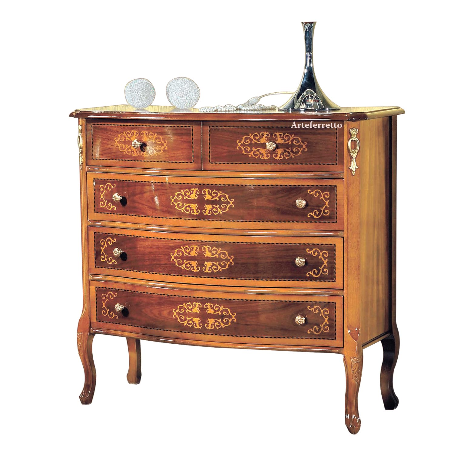 Commode 4 tiroirs avec marqueteries