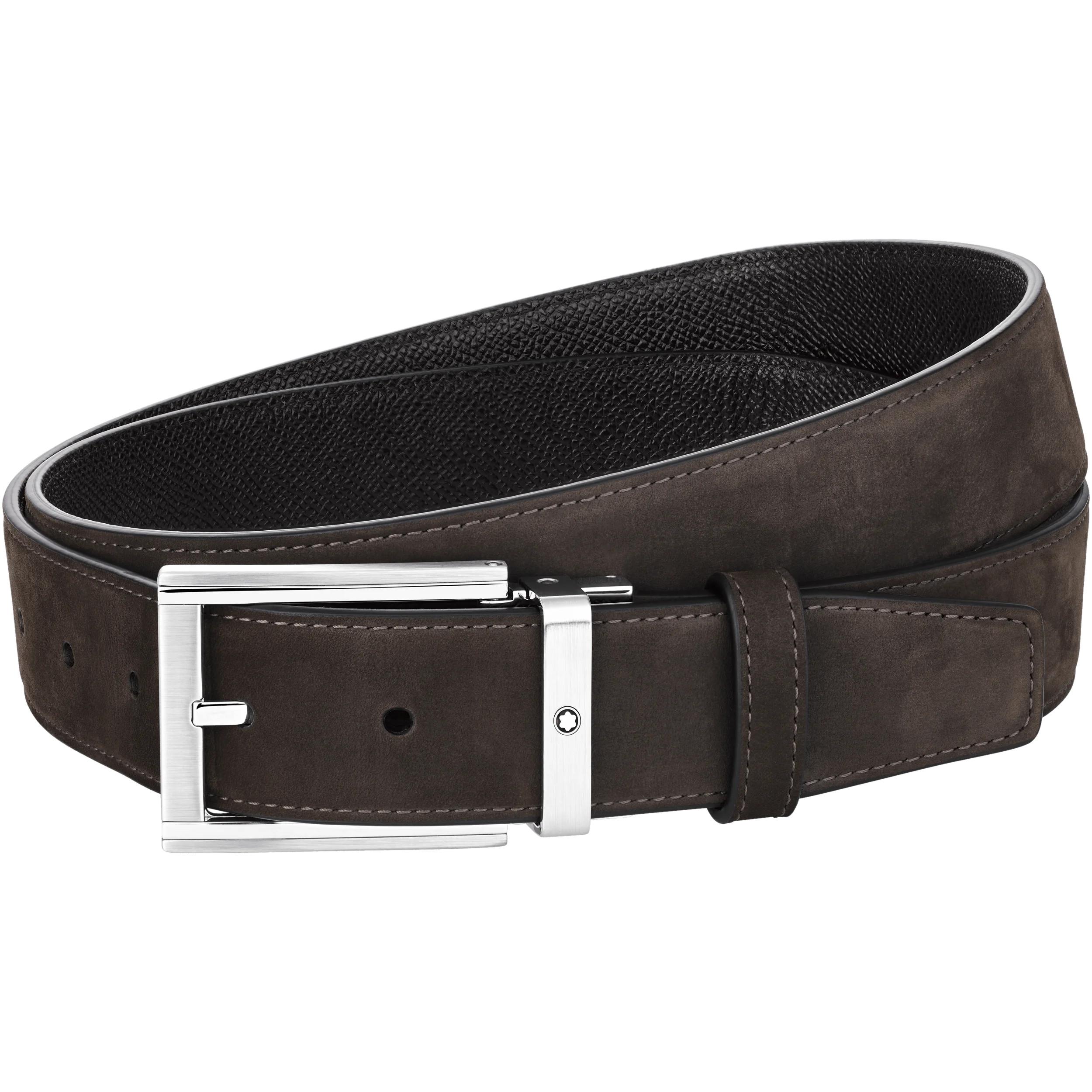 Cintura Montblanc con fibbia ad ardiglione rettangolare in acciaio pregiato lucido e opaco