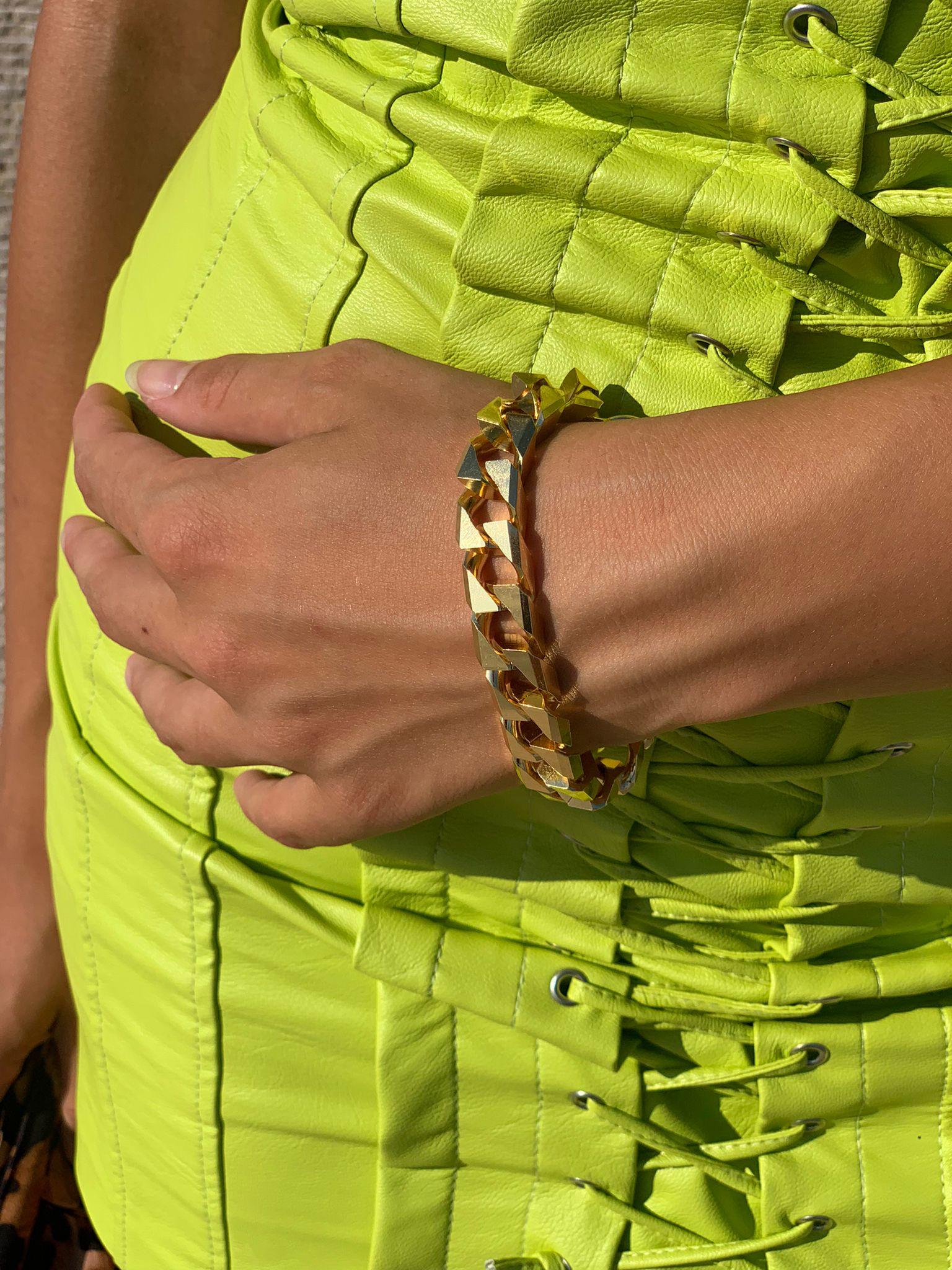 Bracciale oro a catena geometrica Francesca Bianchi Design