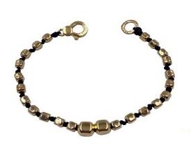 Elegante bracciale in argento 925 dorato e tessuto