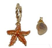 Orecchini in argento 925 dorato e smalto a forma di stella marina e conchiglia