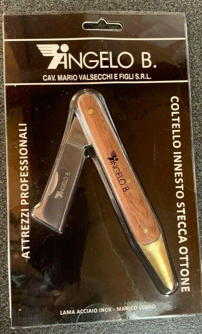 Coltello per Innesto stecca ottone Angelo Bergamasco-Lama Inox e manico in legno