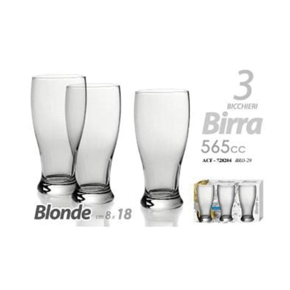 Gicos Set 3 Bicchieri Per Birra Vetro