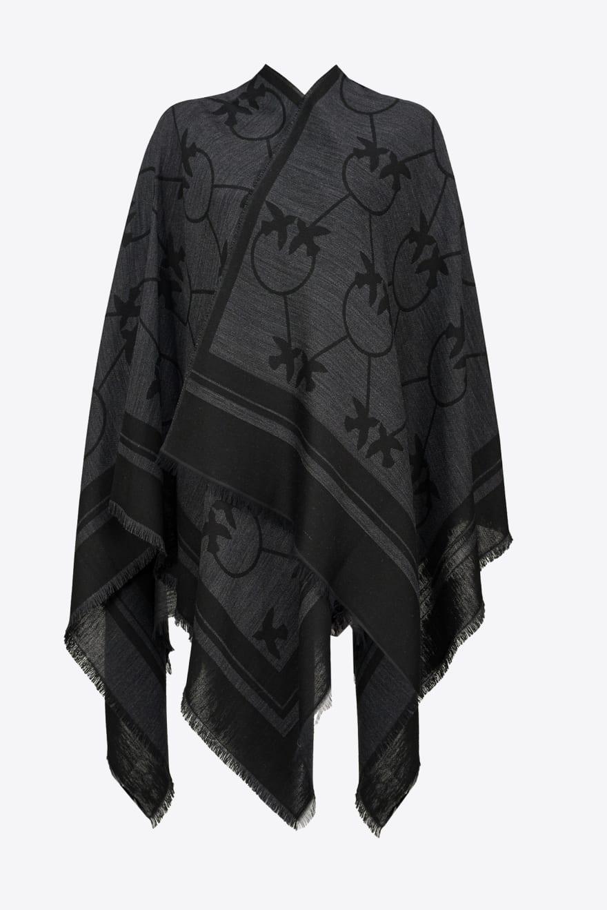 Poncho Podor maxi scialle nero e grigio Pinko