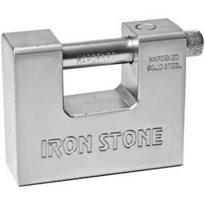 Lucchetto in Acciaio monoblocco + 5 chiavi piatte IRON STONE SSU84/IS
